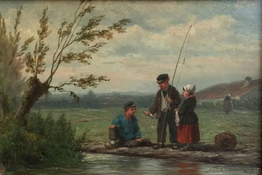 Schilderijen te koop van kunstschilder Jan HB Koekkoek Visserspraat olie op paneel rechtsonder gesigneerd, Expositie Galerie Wijdemeren Breukeleveen