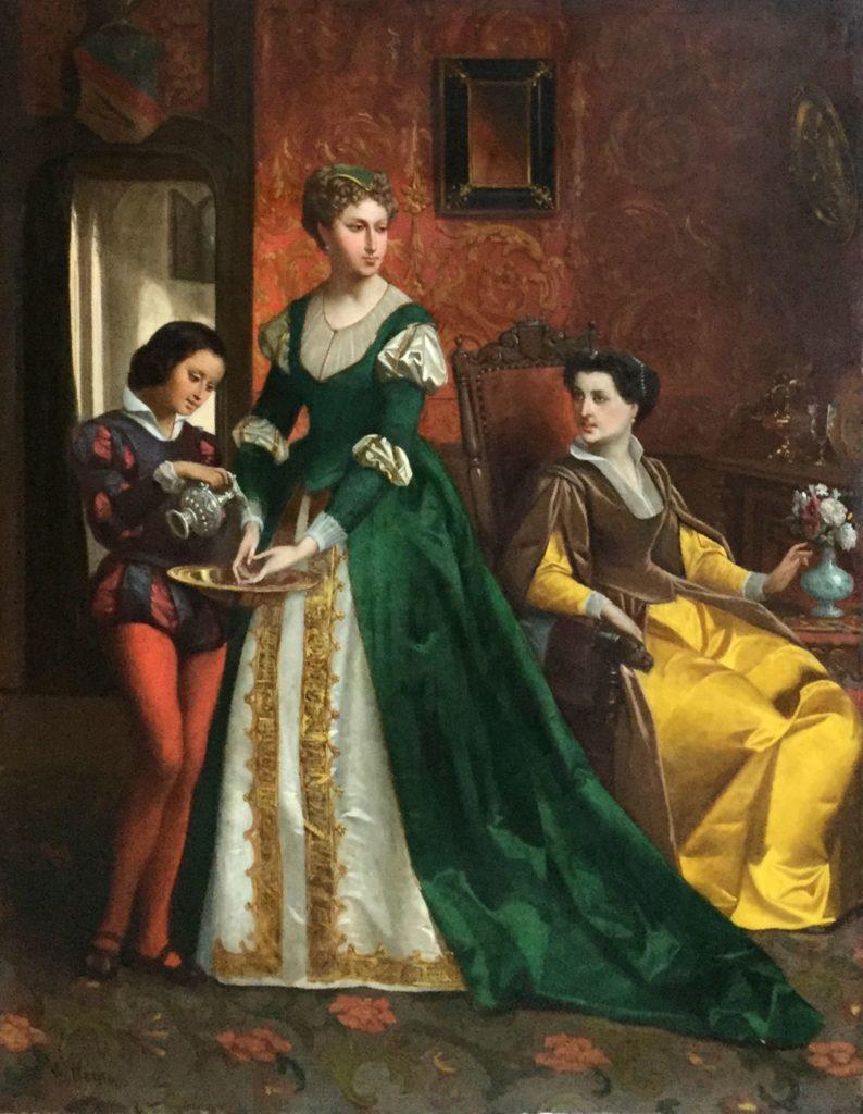 Kunst te koop bij Galerie Wijdemeren van kunstschilder Louis Willems Genrestuk olie op paneel, 63.5 x 48 cm linksonder gesigneerd