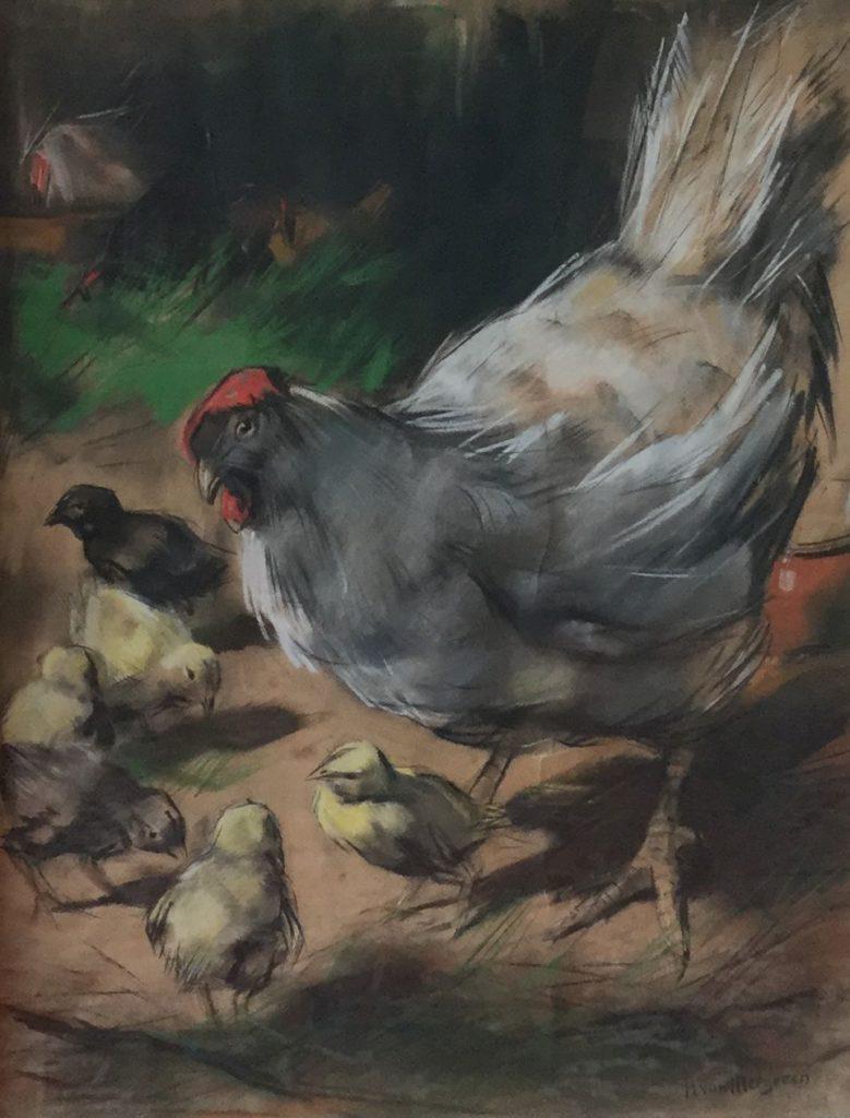 Kunst te koop bij Galerie Wijdemeren door Han van Meegeren, Kippenfamilie, pastel op papier, 56 x 44 cm rechtsonder gesigneerd