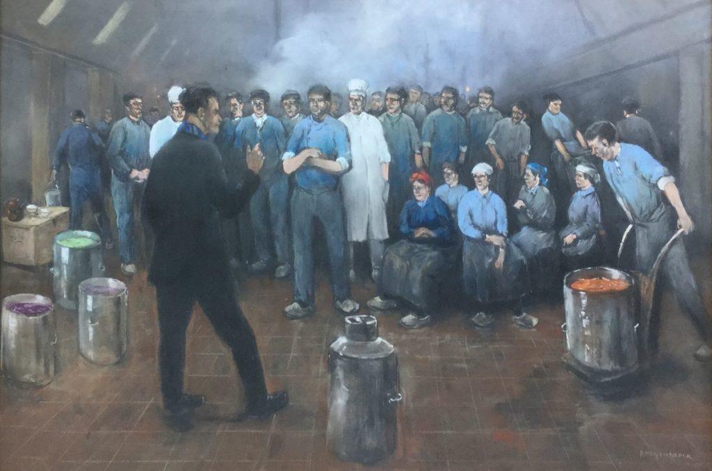 Kunst te koop bij Galerie Wijdemeren van kunstschilder Herman Heijenbrock Staking pastel op papier, 62 x 92 cm rechtsonder gesigneerd