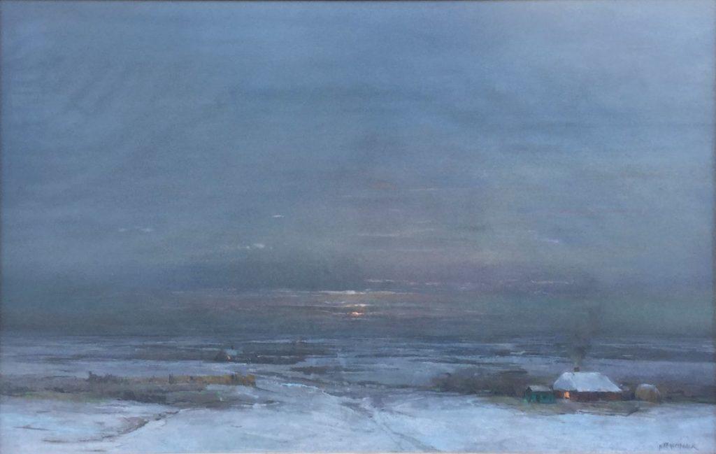 Kunst te koop bij Galerie Wijdemeren, Herman Heijenbrock Winterlandschap pastel op papier, 62 x 90 cm rechtsonder gesigneerd