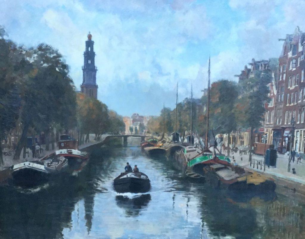 Bij Galerie Wijdemeren is kunst te koop van Frans Oerder Prinsengracht olie op doek, 70.5 x 90.5 cm linksonder gesigneerd