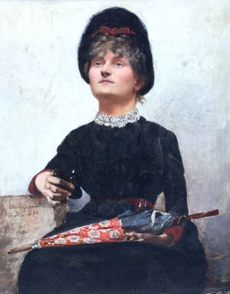 Kunst te koop bij Galerie Wijdemeren, van kunstschilder Pedro Weingärtner Portret van een dame, München 1886 olie op paneel, 31.5 x 41.5 cm linksonder gesigneerd