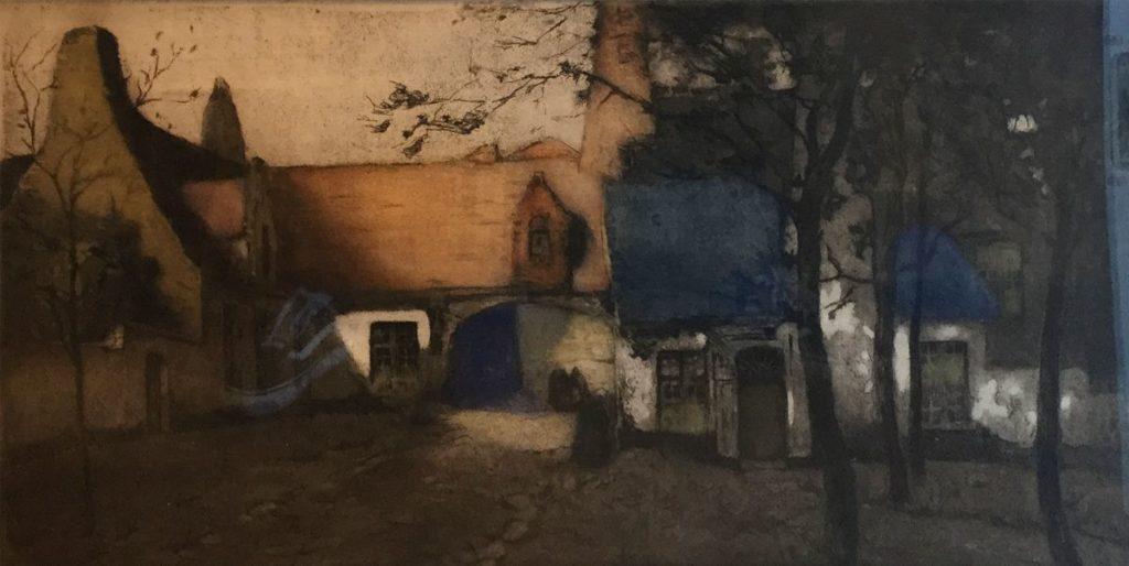 Kunst te koop bij Galerie Wijdemeren van kunstenaar Alfred van Neste Dorpsgezicht kleurenets,38 x 68 cm linksonder gesigneerd, eigen druk
