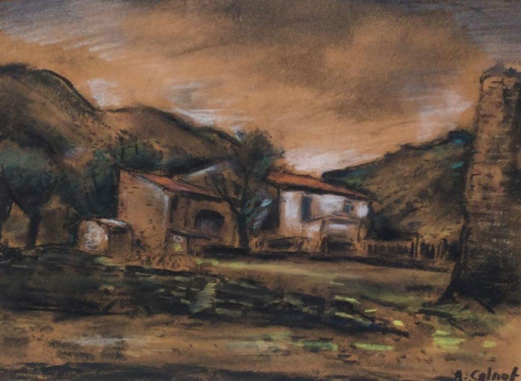 Kunst te koop bij galerie Wijdemeren van kunstschilder Arnout Colnot Boerderij in Spanje pastel op papier, 21.5 x 29.5 cm rechtsonder gesigneerd
