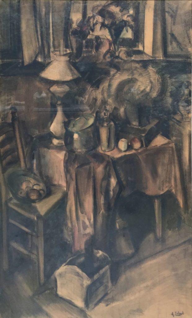 Kunst te koop bij Galerie Wijdemeren van Arnout Colnot Stilleven gemengde techniek (houtskool en aquarel) op papier, 135.5 x 87 cm rechtsonder gesigneerd