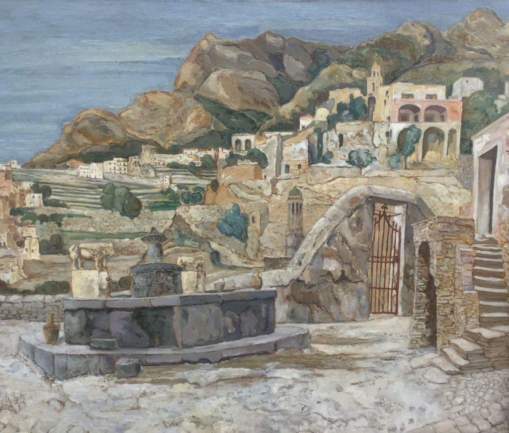 Kunst te koop bij Galerie Wijdemeren van kunstschilder Dirk Filarski Italiaans landschap olie op doek, 101 x 120 cm rechtsonder gesigneerd en gedateerd 1936