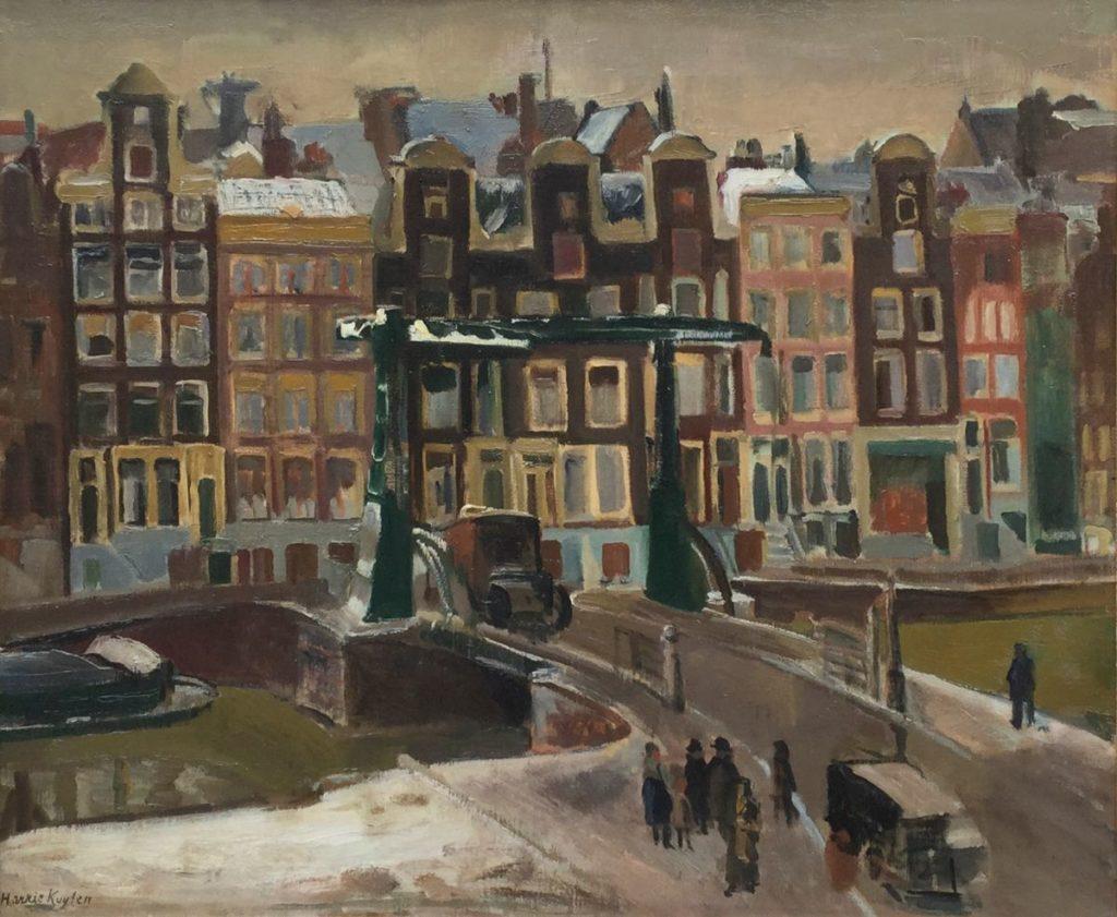 Te koop bij Galerie Wijdemeren, schilderijen door kunstschilder Harry Kuyten Amsterdam, Nieuwe Herengracht olie op doek, 54 x 65 cm linksonder gesigneerd