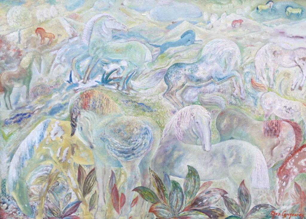 Kunst te koop bij galerie Wijdemeren, Ger Langeweg Prairie olie op doek, 67.5 x 91.5 cm rechtsonder gesigneerd