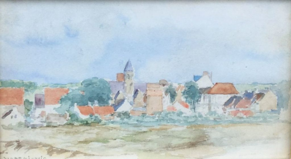 Kunst te koop bij Galerie Wijdemeren, F. Hart Nibbrig Duindorp aquarel op papier, 11.5 x 20 cm linksonder gesigneerd