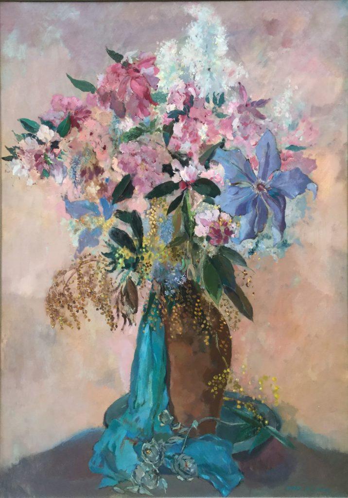 Kunst te koop bij Galerie Wijdemeren, Germ de Jong Bloemstilleven olie op doek, 105.5 x 76 cm rechtsonder gesigneerd