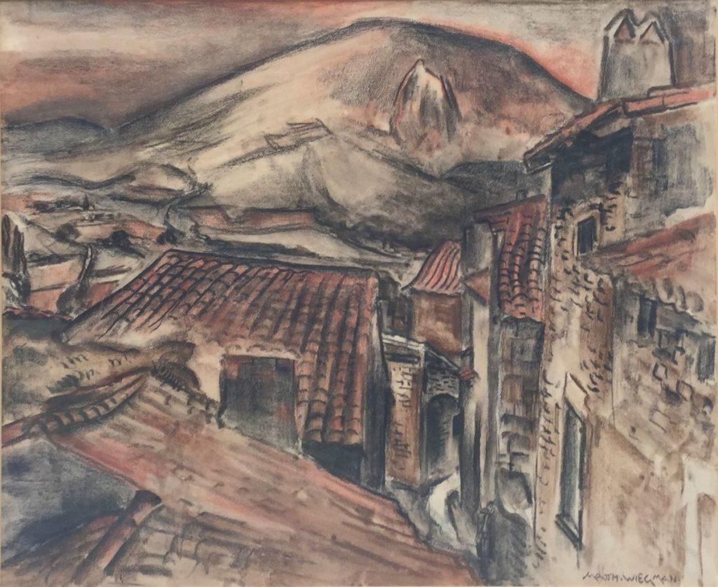 kunst te koop bij Galerie Wijdemeren van Mattieu Wiegman Zicht op bergdorpje gemengde techniek op papier, 49 x 60 cm rechtsonder gesigneerd