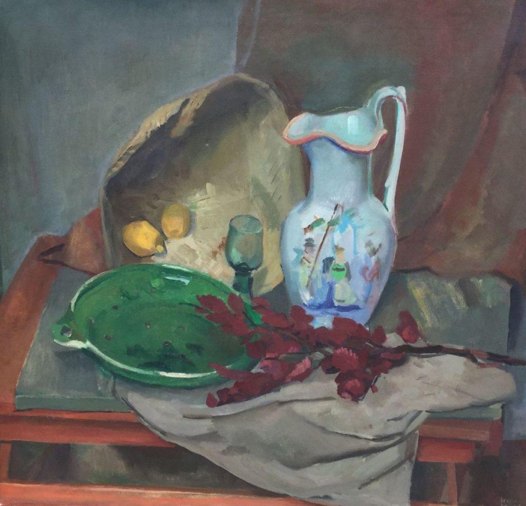 Kunst te koop bij Galerie Wijdemeren van schilder Harrie Kuyten Stilleven met Chinese kan olie op doek, 81 x 86 cm rechtsonder gesigneerd