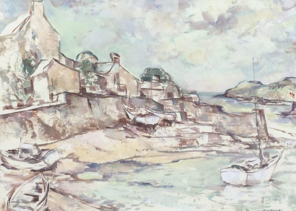 Kunst te koop bij Galerie Wijdemeren van Karel Colnot Mediterraans strandgezicht met bootjes olie op papier, 47 x 64 cm rechtsonder gesigneerd