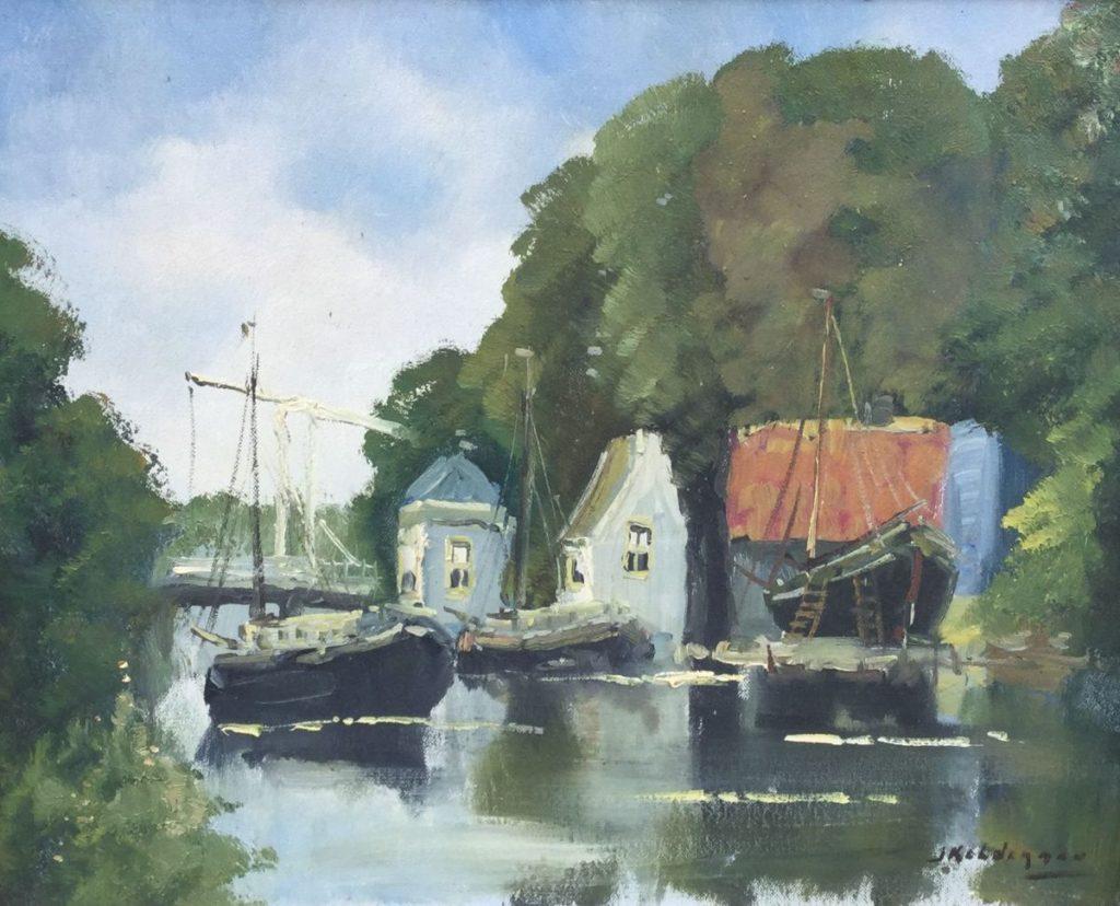 Schilderijen te koop van kunstschilder Jan Kelderman Edam olie op doek, doekmaat 40 x 50 cm rechtsonder gesigneerd, Expositie Galerie Wijdemeren Breukeleveen