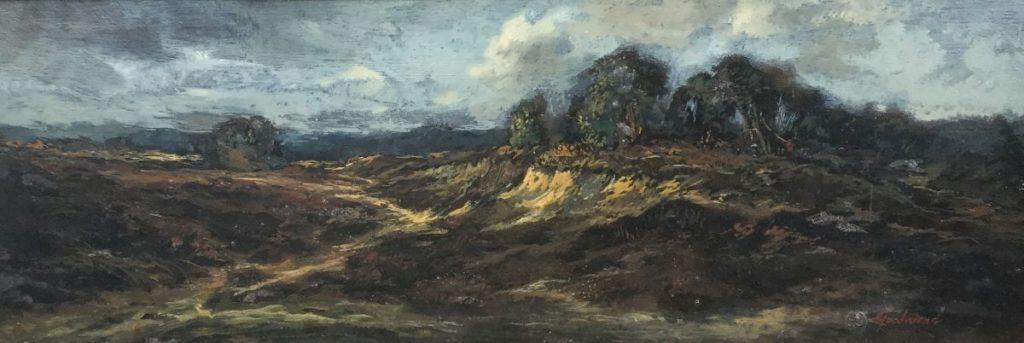 Kunst te koop bij Galerie Wijdemeren, Theo Goedvriend Heidegezicht olie op paneel, 26 x 70 cm rechtsonder gesigneerd