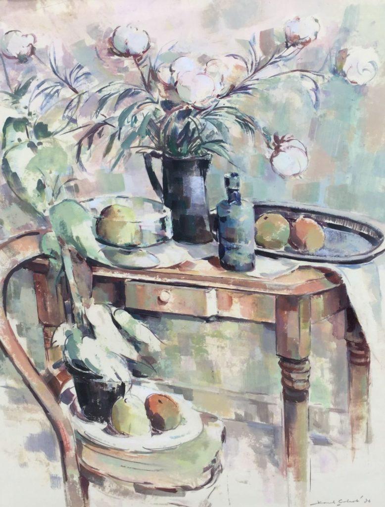 Kunst te koop bij Galerie Wijdemeren van Karel Colnot Keukenstilleven olie op papier, 81 x 62 cm rechtsonder gesigneerd en gedateerd 86