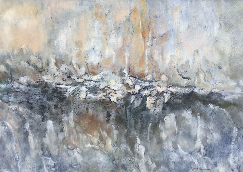 Kunst te koop bij Galerie Wijdemeren van Joke Vermeulen - Maan Abstracte voorstelling olie op paneel, 55 x 77 cm rechtsonder gesigneerd