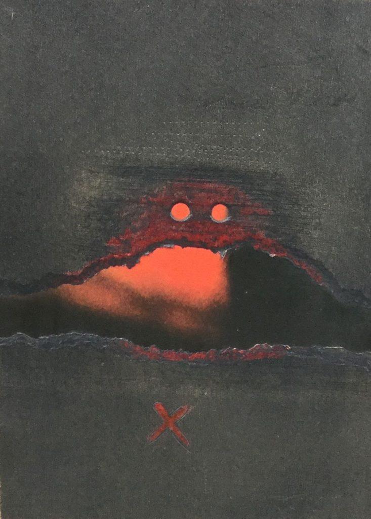 Kunst te koop bij Galerie Wijdemeren van Ari van Santvoort Magische Objekte, ORI 11 gemengde techniek, 24 x 17.5 cm rechtsonder en verso gesigneerd, gedateerd 78