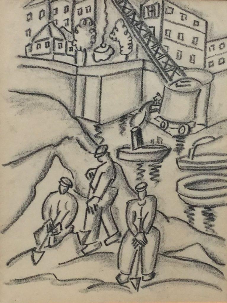 Kunst te koop bij Galerie Wijdemeren, waaronder Mannen aan het werk krijttekening, 29 x 22.5 cm