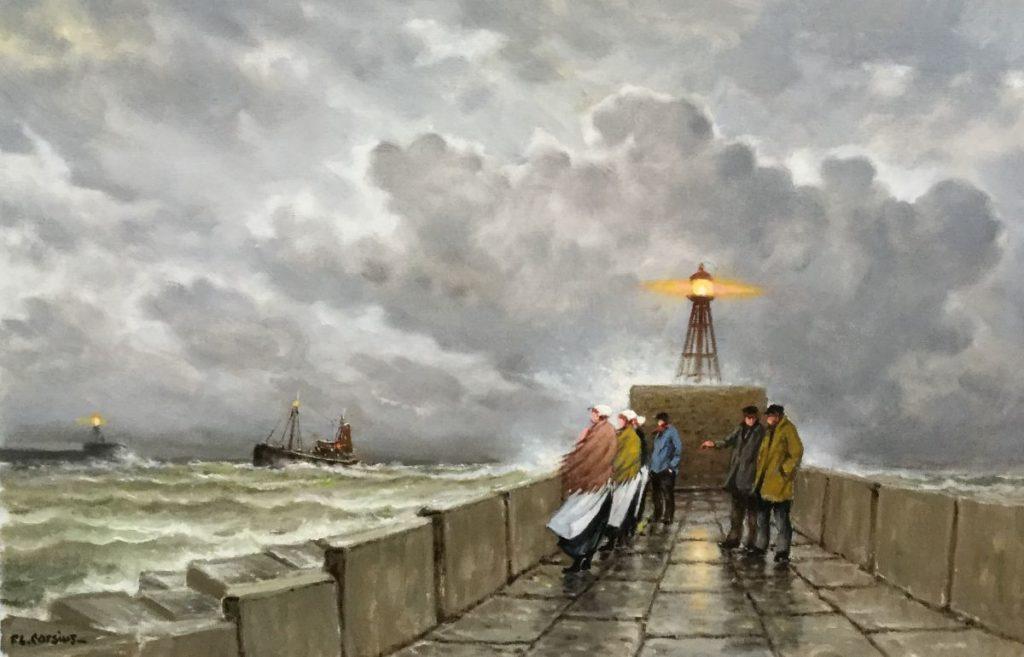 Galerie Wijdemeren, Schilderijen te koop van kunstschilderij F.L. Corsius Thuiskomst olie op doek, 60 x 90 cm linksonder gesigneerd