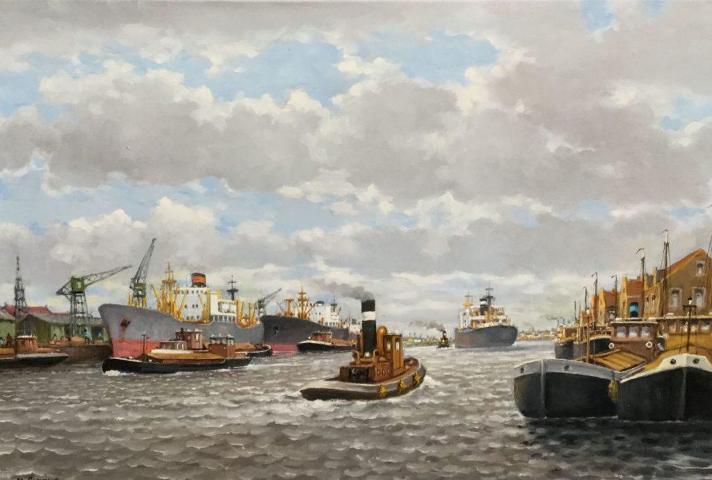 schilderijen te koop van kunstschilder, F.L. Corsius Rotterdamse haven olie op doek, doekmaat 60 x 90 cm linksonder gesigneerd, expositie, galerie wijdemeren breukeleveen