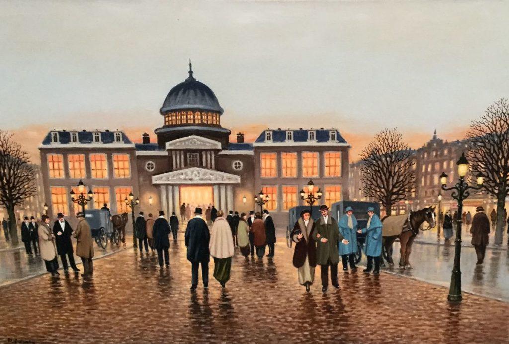 Schilderijen te koop bij Galerie Wijdemeren van kunstschilder F.L. Corsius Operagebouw olie op doek, 80 x 120 cm linksonder gesigneerd