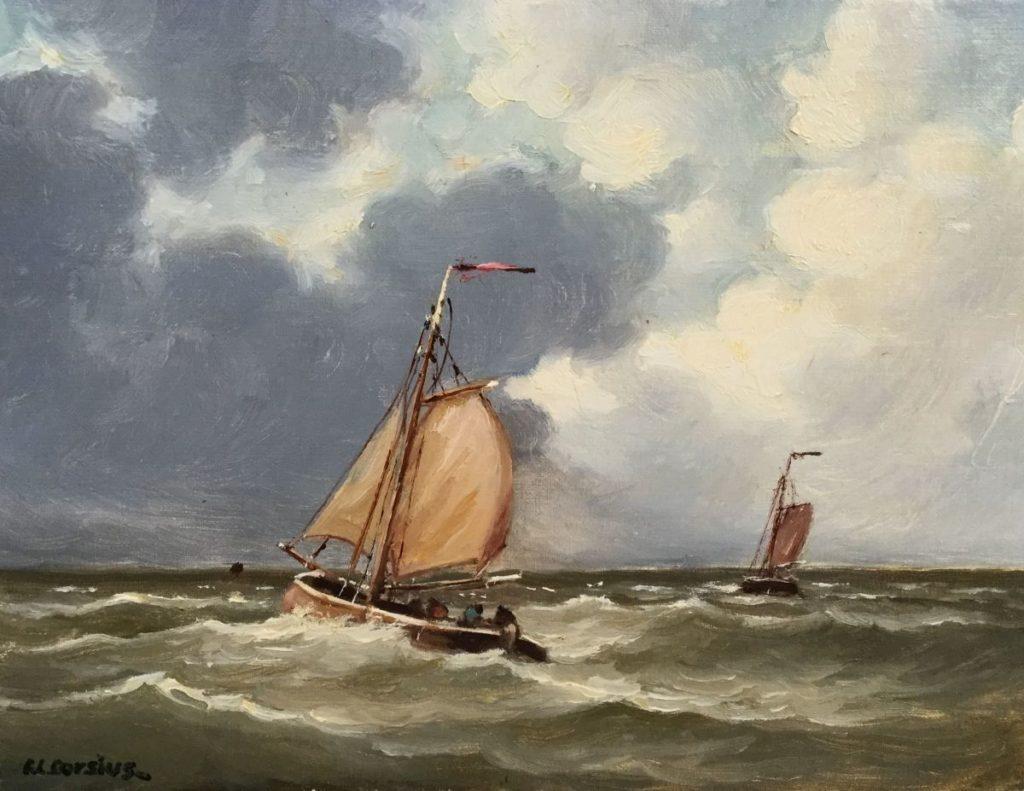 Schilderijen te koop bij Galerie Wijdemeren door F.L. Corsius Zeegezicht olie op doek, 30 x 40 cm linksonder gesigneerd