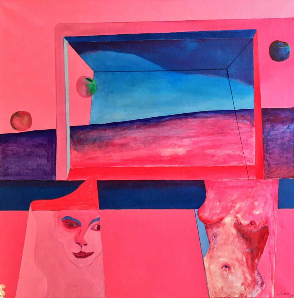 Schilderijen te koop van kunstschilder Julio Romera de Torres zonder titel olie op doek, 100 x 100 cm gesigneerd rechtsonder, Expositie Galerie Wijdemeren Breukeleveen