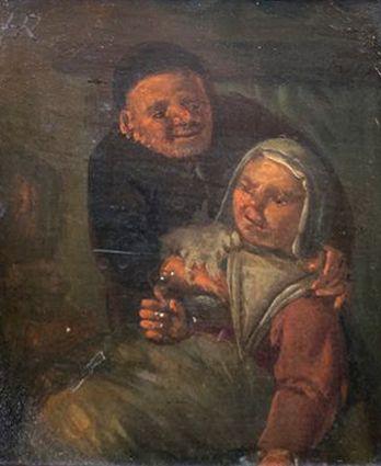 Kunst te koop bij Galerie Wijdemeren van kunstschilder Egbert van Heemskerck Portret van een man en vrouw olie op paneel, 12 x 11 cm