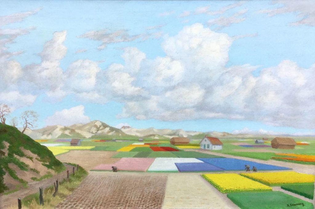 Schilderijen te koop bij Galerie Wijdemeren van kunstschilder Dirk Smorenberg Bollenvelden olie op doek, 75 x 107 cm rechtsonder gesigneerd