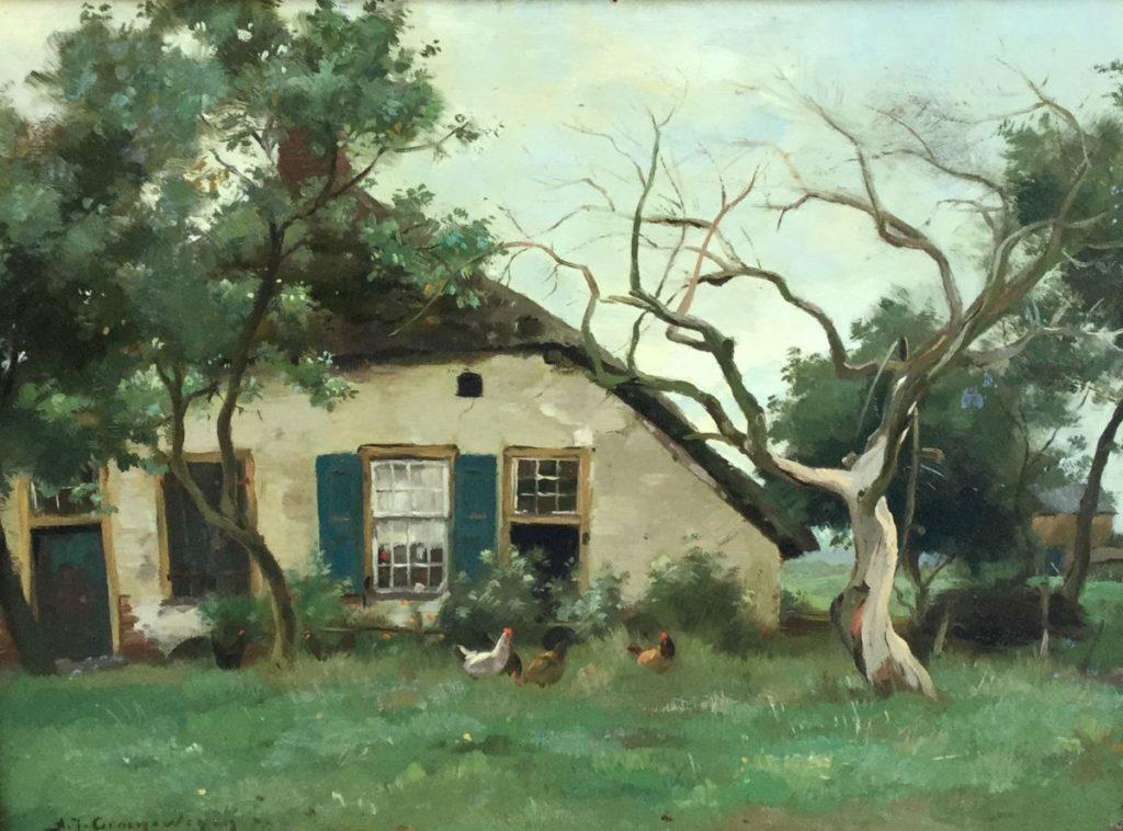 Schilderijen te koop bij Galerie Wijdemeren, van kunstschilder A.J. Groenewegen Zicht op boerderij met kippetjes olie op doek, 25.5 x 34.5 cm linksonder gesigneerd