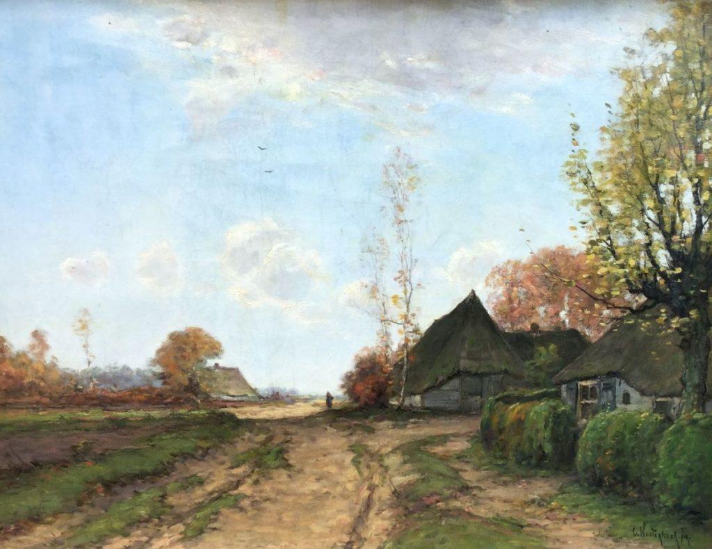 Galerie Wijdemeren, schilderijen te koop van kunstschilder Cornelis Westerbeek jr. Poldergezicht met landweggetje en boerderijen olie op doek, 39.5 x 51 cm rechtsonder gesigneerd