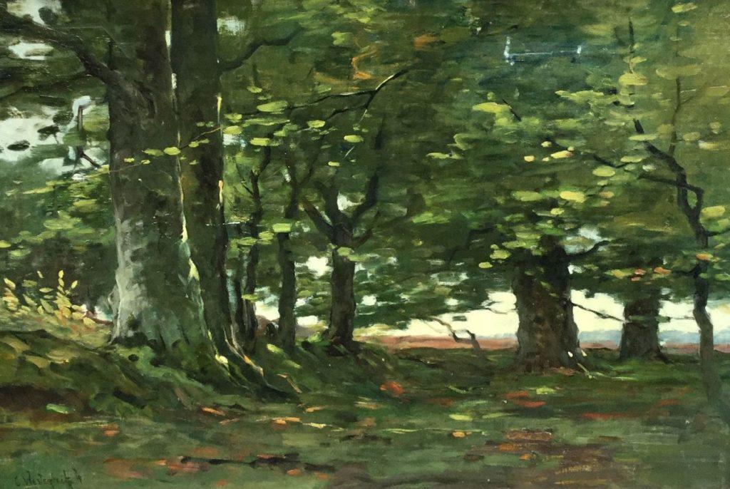 Galerie Wijdemeren, schilderijen te koop van kunstschilder Cornelis Westerbeek jr. Bosgezicht marouflé, 37 x 55 cm linksonder gesigneerd