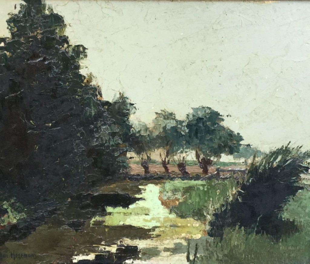 Schilderijen te koop bij Galerie Wijdemeren van kunstschilder Jac Hezemans Polderlandschap met vennetje olie op board, 26 x 31 cm linksonder gesigneerd