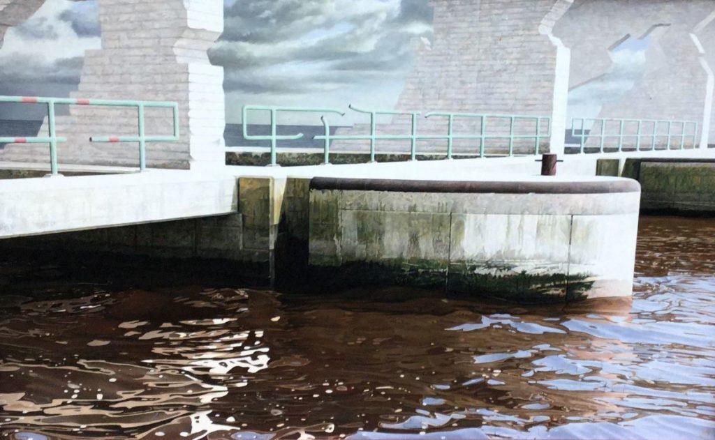 Kunst te koop bij Galerie Wijdemeren door Peter van der Ploeg De brug olie op paneel, 35.5 x 55.5 cm gesigneerd links in de voorstelling op de brug, gedateerd 87