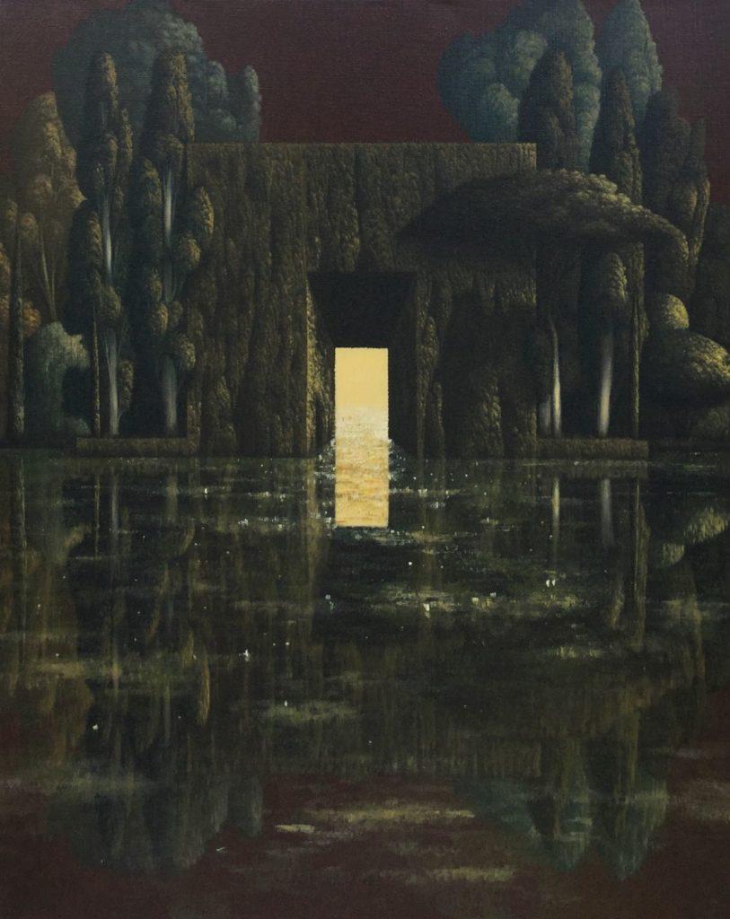 Bij Galerie Wijdemeren zijn schilderijen te koop van kunstschilder Victor Muller Doorgang A (Rood) olieverf op linnen, 100 x 80.5 cm midden onder gesigneerd en gedateerd 2009