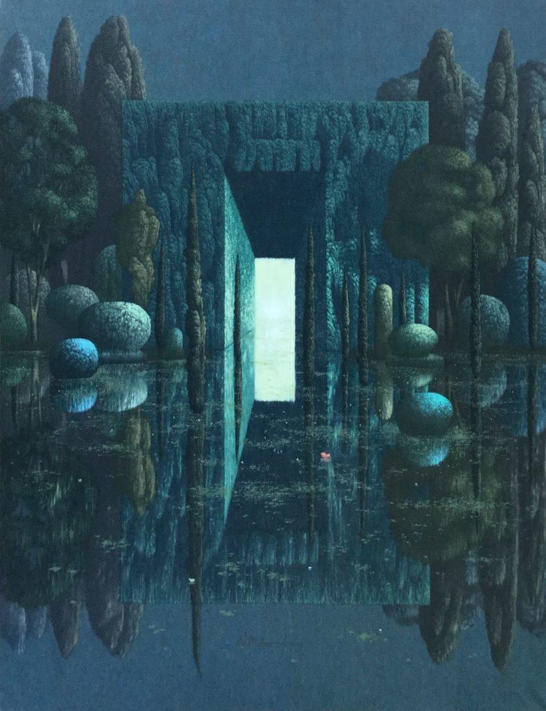 Bij Galerie Wijdemeren zijn schilderijen te koop van kunstschilder Victor Muller Doorgang B (Blauw) olieverf op linnen, 100 x 80.5 cm midden onder gesigneerd en gedateerd 2009