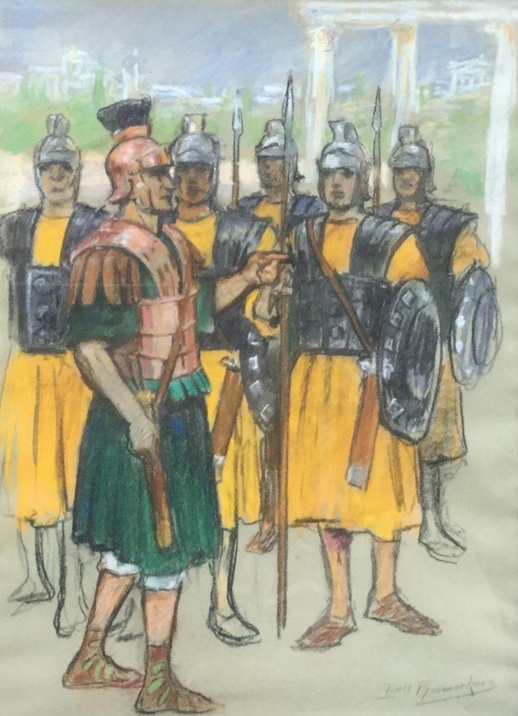 Kunst te koop bij Galerie Wijdemeren van Louis Raemaekers Romeinse soldaten pastel op papier, 55.5 x 40.5 cm rechtsonder gesigneerd