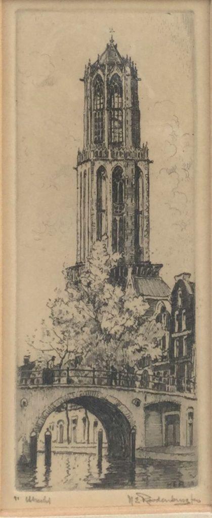 schilderijen te koop van kunstschilder, H.E. Roodenburg Utrecht ets, beeldmaat 17 x 7 cm rechtsonder handgesigneerd, expositie, galerie wijdemeren breukeleveen