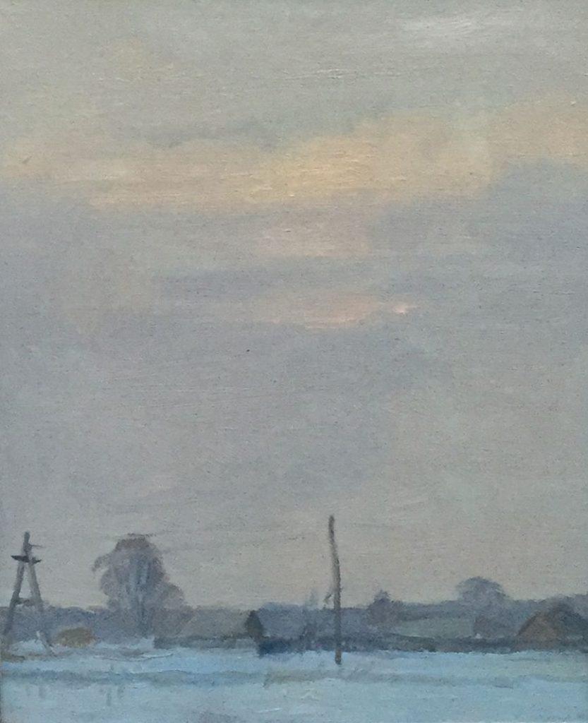 schilderijen te koop van kunstschilder, Winterlandschap olie op papier, beeldmaat 30 x 24 cm Gelijst achter glas rechtsonder gesigneerd, expositie, galerie wijdemeren breukeleveen