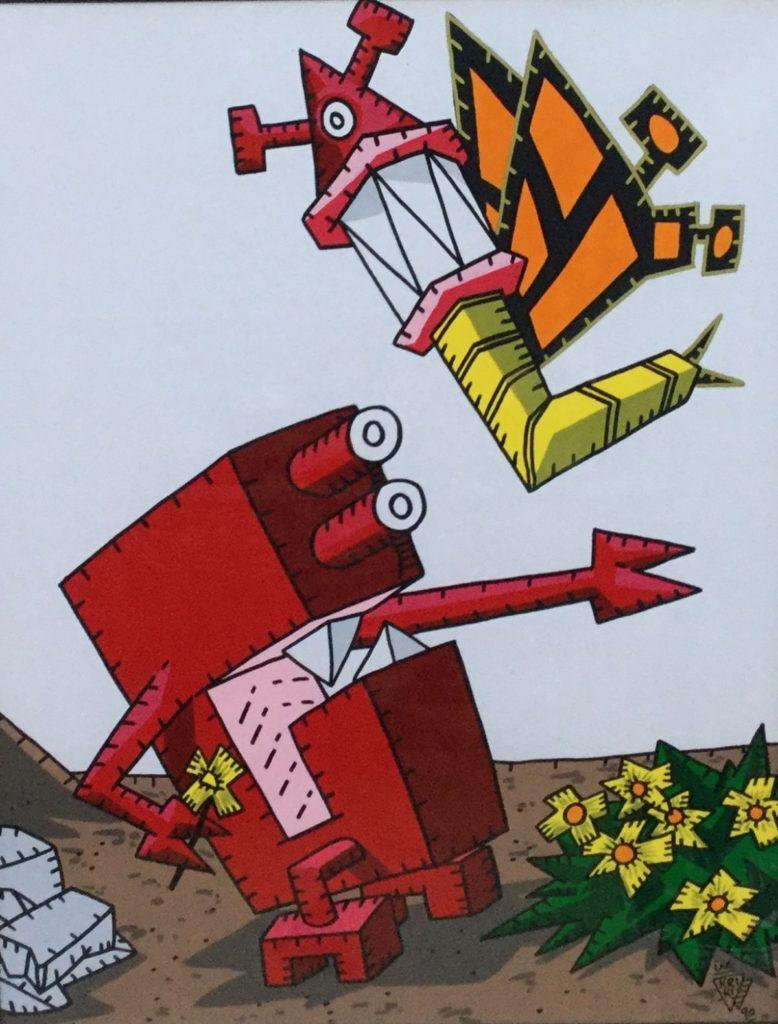Kunst te koop bij Galerie Wijdemeren van kunstenaar Kriki De Bloem zeefdruk, 64 x 48 cm rechtsonder gesigneerd en gedateerd 90