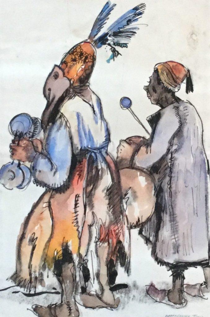 Schilderijen te koop, kunstschilder G. Huysser, Danser Tunis, 1931 gemengde techniek op papier (aquarel, houtskool en inkt) rechtsonder gesigneerd en gedateerd 1931 beeldmaat 32 x 21 cm, expositie Galerie Wijdemeren Breukeleveen