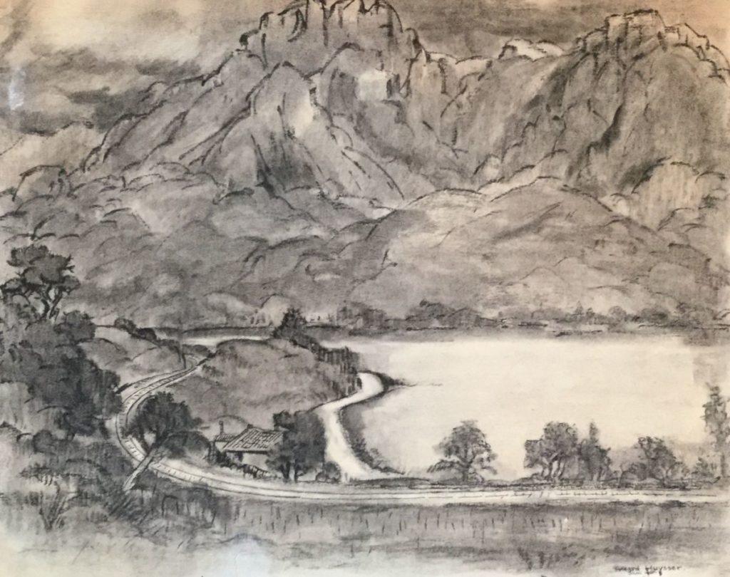 Schilderijen te koop, kunstschilder Gerard Huysser Zicht op bergmeer in het dal houtskool en inkt op papier, , beeldmaat 40 x 50 cm rechtsonder gesigneerd en gedateerd juni 1950, expositie Galerie Wijdemeren Breukeleveen