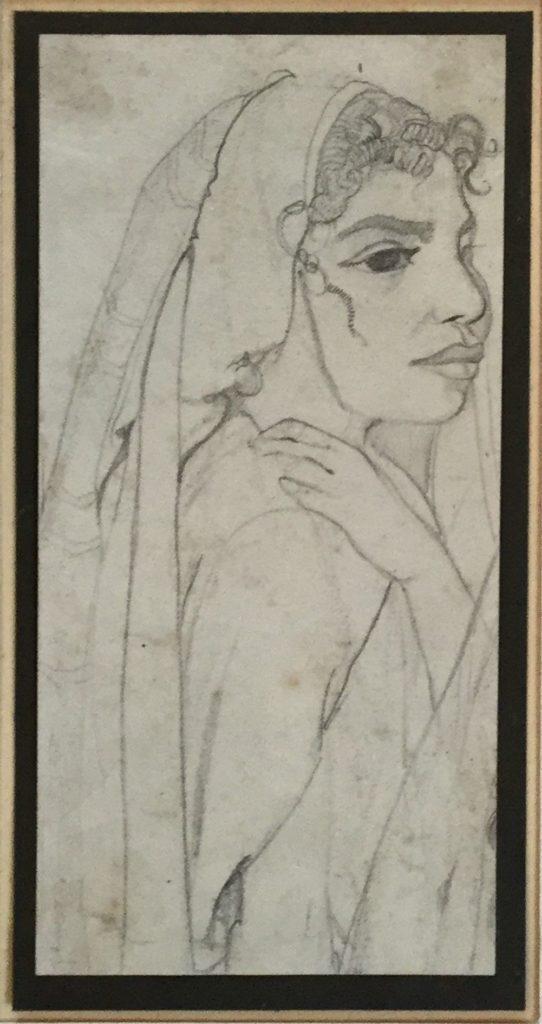 Schilderijen te koop, kunstschilder Gerard Huysser Arabisch meisje potlood op papier, beeldmaat 18.5 x 9.5 cm ongesigneerd, expositie Galerie Wijdemeren Breukeleveen