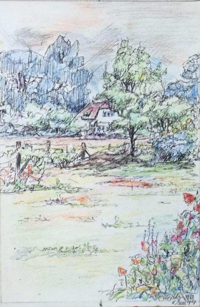 schilderijen te koop van kunstschilder, G. Huysser, Boerderij aan een weiland met wilde bloemen, pen en kleurpotlood op papier, rechtsonder gesigneerd en gedateerd 1967, expositie, galerie wijdemeren breukeleveen