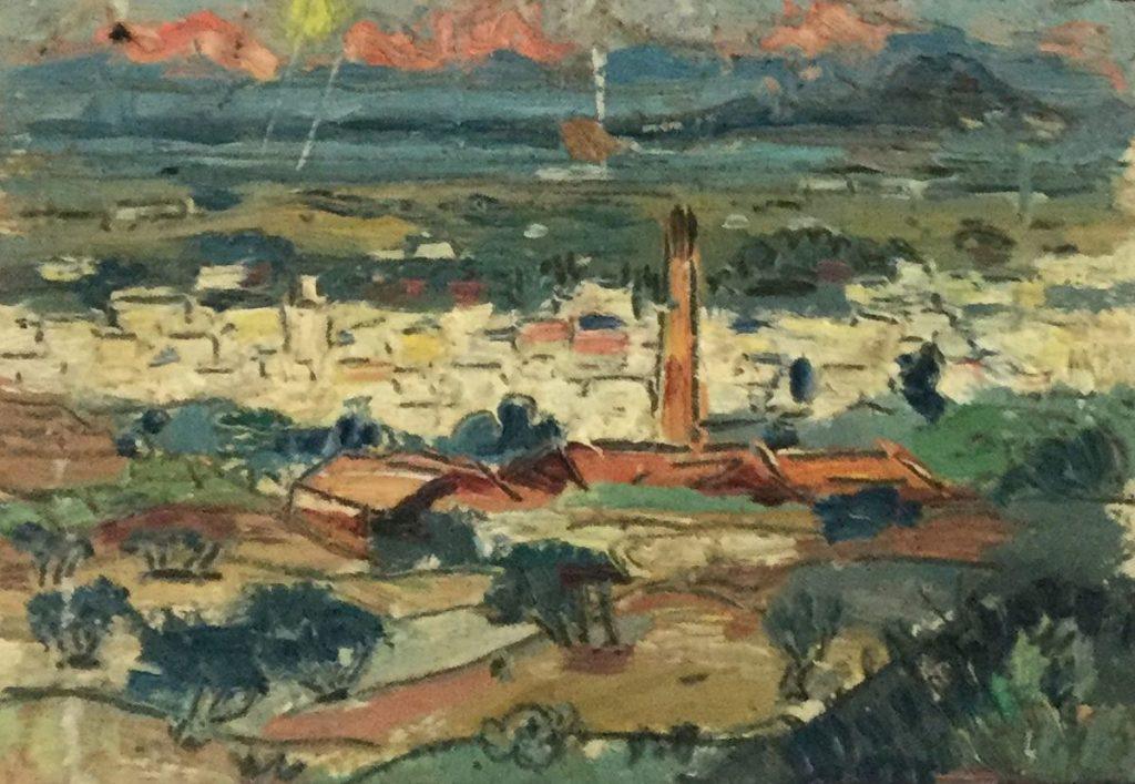 schilderijen te koop van kunstschilder, Gerard Huysser Stadje in bergdal olie op papier, beeldmaat 9.5 x 13.5 cm, expositie, galerie wijdemeren breukeleveen