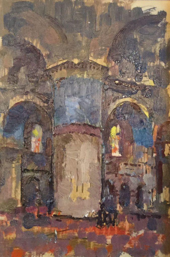 schilderijen te koop van kunstschilder, Gerard Huysser tudie van een kerkinterieur olie op papier, beeldmaat 19.5 x 13 cm, expositie, galerie wijdemeren breukeleveen