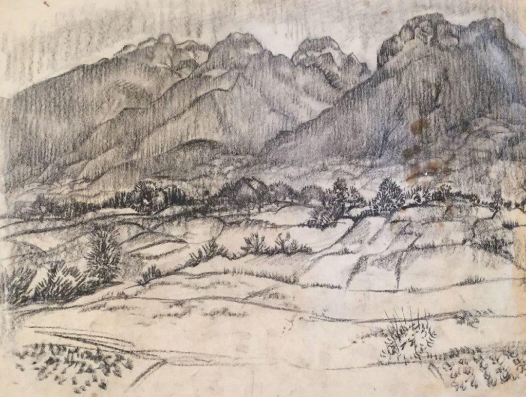 Kunst te koop bij Galerie Wijdemeren van kunstschilder Gerard Huysser Berglandschap houtskool op papier, 38 x 48.5 cm