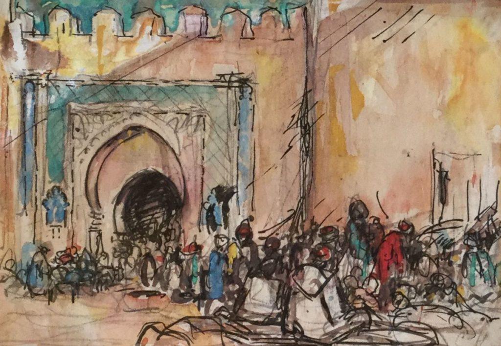 Kunst te koop bij Galerie Wijdemeren van kunstschilder Gerard Huysser Poort te Fez (Marokko) gemengde techniek op papier, 13.5 x 19 cm rechtsonder gesigneerd